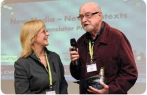 Mary Carroll and Jan Ivarsson with his award